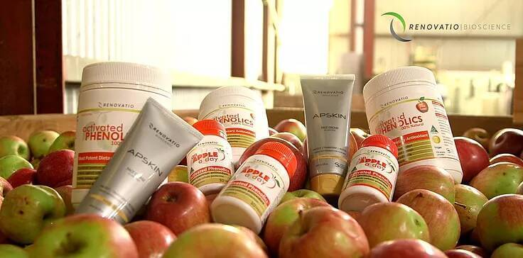 A range of products offered by Renovatio, placed on top of a basket of apples.